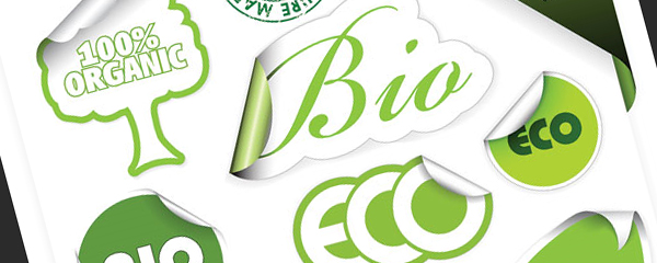 Green theme stickers vector icons