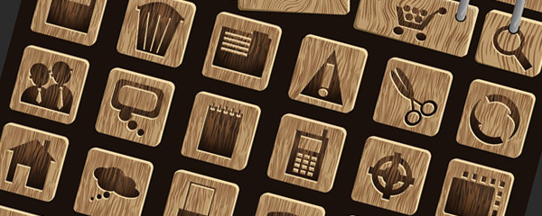 free wood icons set