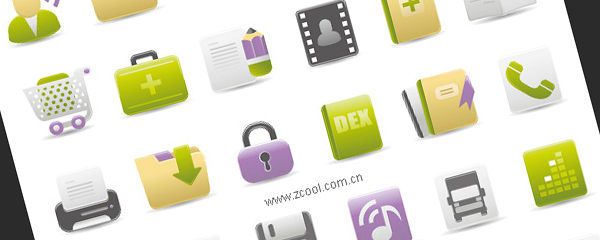 Web Design Gray Green Purple icon vector material