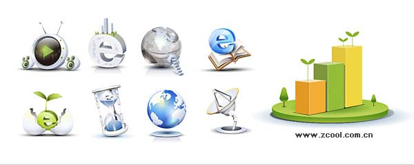 High-tech style, three-dimensional icon vector material