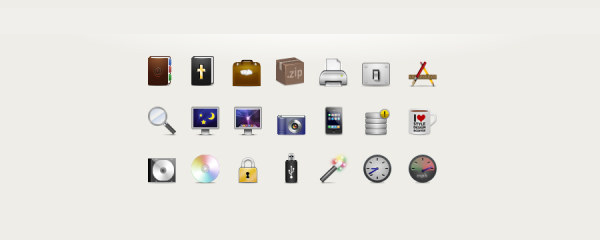 Cd icon, book icon, printer icon, lock icon, clock icon, magnifier icon, screen icon, etc...