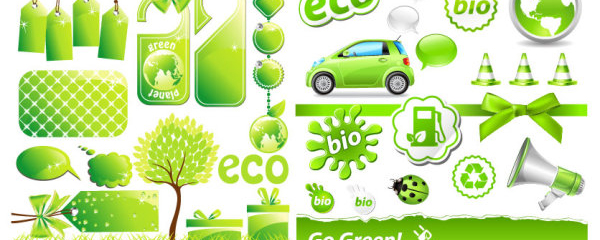 Low-carbon Environmental green theme icon vector material