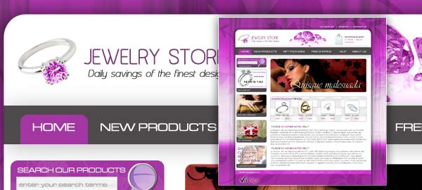 Jewelry Store Free Photoshop Template.