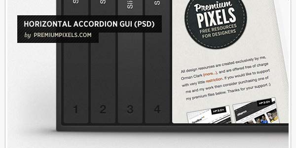 HORIZONTAL ACCORDION / SLIDER GUI (PSD)