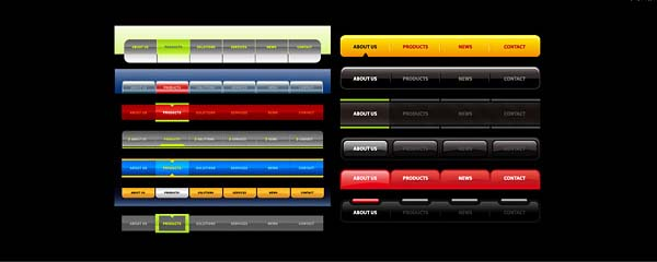 Vectors Website Navigation Tabs And Buttons Graphic Hive