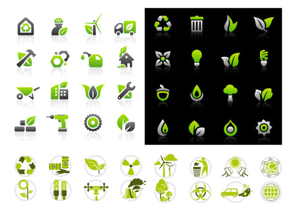Environmental protection icon set vector material