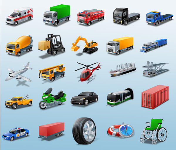 Vista Style Transport Icon Set
