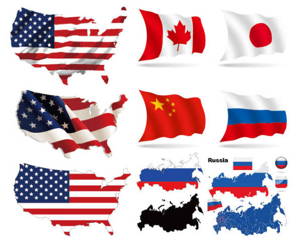 Flags of several countries Vector Map