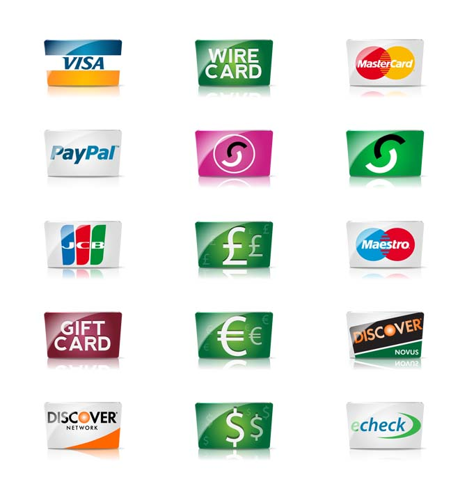 Credit cards and payment icons