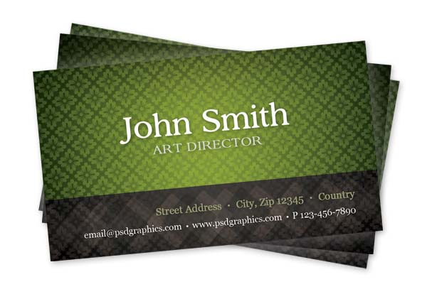 Green business card template with seamless pattern