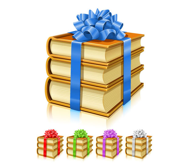 Vector Gifts of books with ribbons and bows (.ai)