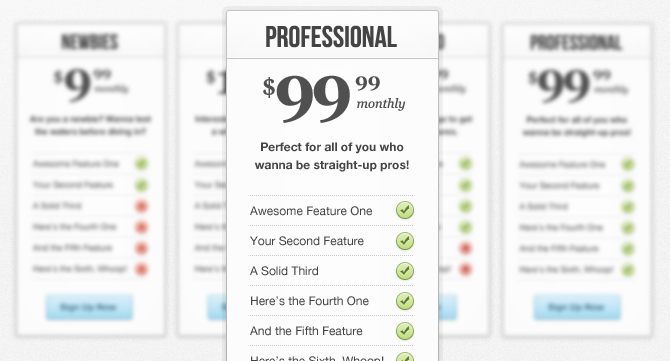 Sweet & Clean Pricing Table 