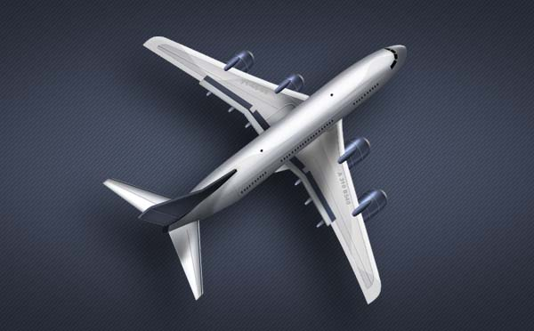 A plane icon/illustration in psd file.