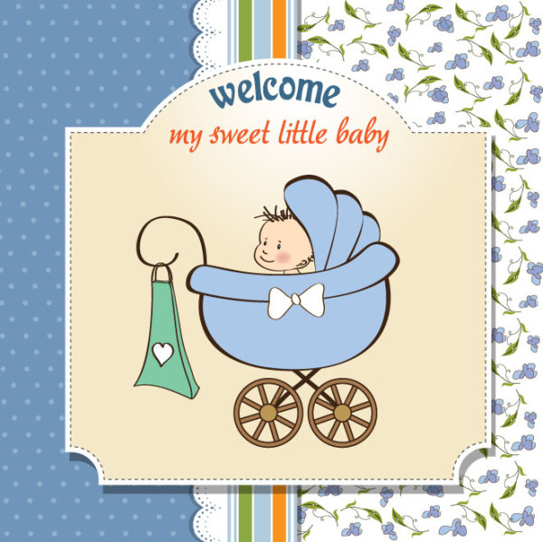 Free Vector Cartoon Baby Card