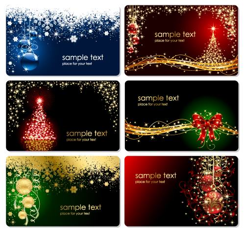 6 Free Christmas Cards - Vector