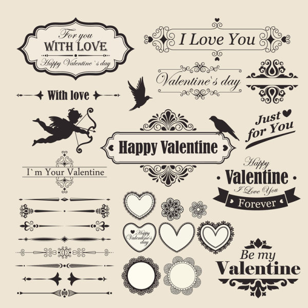 Valentine Design Elements ( Vector )