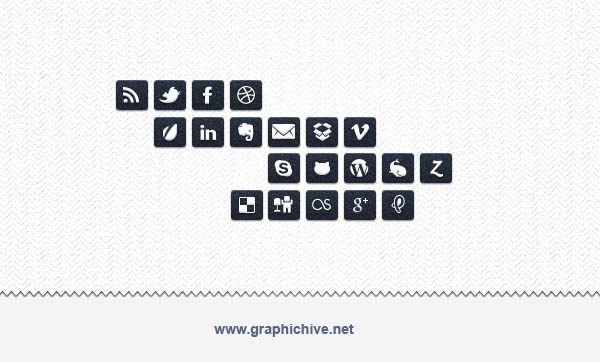 Black on White Social Media Icons (Psd)