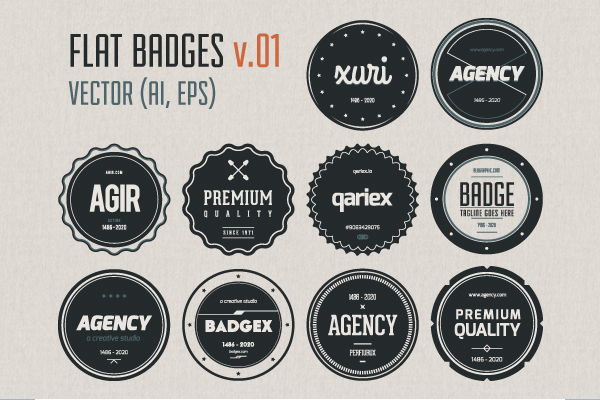 Free Flat Vector Badges by Blugraphic