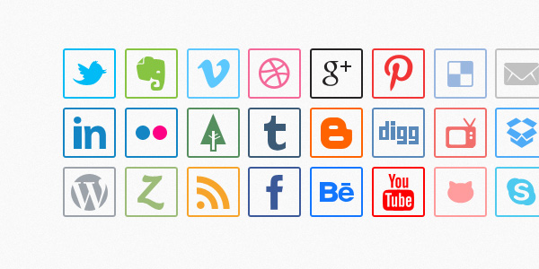 Social Media Lined Icons (Vector / Psd)