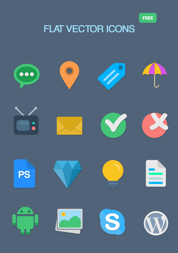 16 Colored Flat Icons