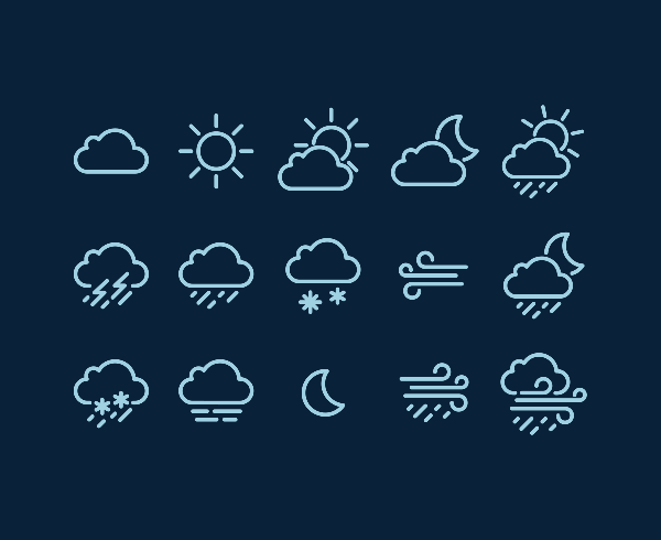 Neat white weather icons set