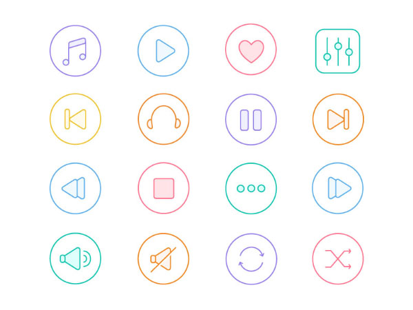 Music Line Colored Icons