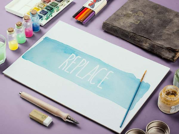 Water Color Sketch Mockup Template