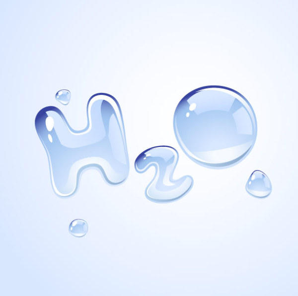 H2O shape of water drops vector material