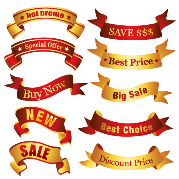 Banner Vector material several ribbon streamers