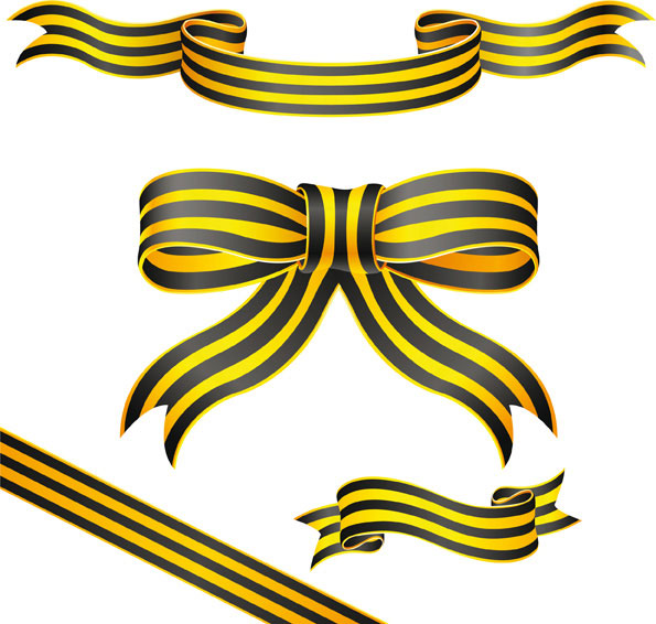 Yellow striped ribbon vector material