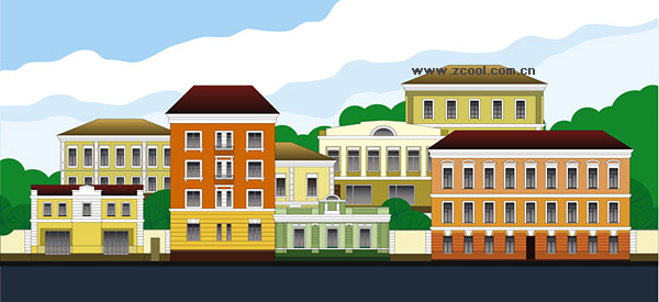 Vector Cartoon Town Scenery Graphic Hive