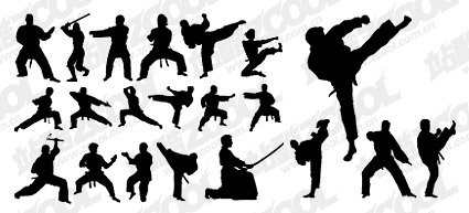 kung fu action silhouette vector graphic hive