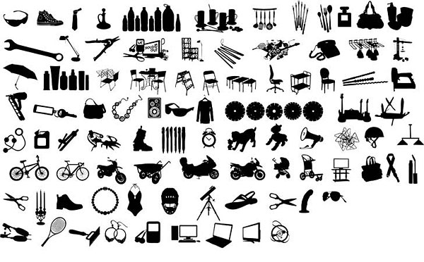 Series Of Black And White Design Elements Vector Graphic