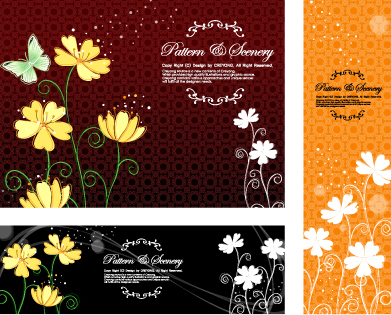 Butterfly flowers vector background pattern of classical material