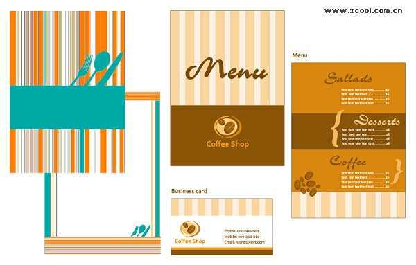 catering menu card template vector graphic