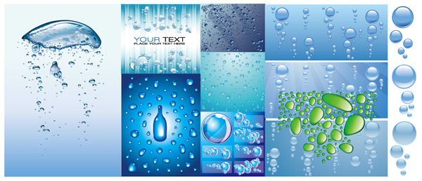Variety of water vector background material