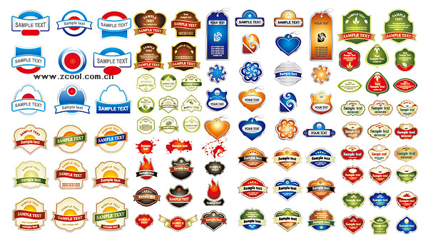 Lable range of beautiful vector graphics material