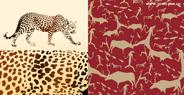 Vector background of leopard and animal material