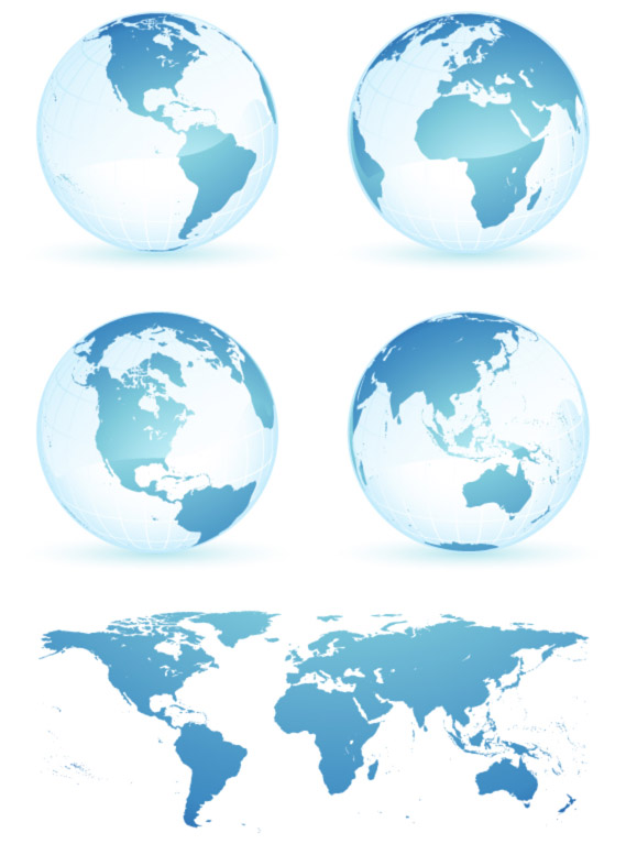 Crystal blue earth world map vector materialWorld Logo Vector Png
