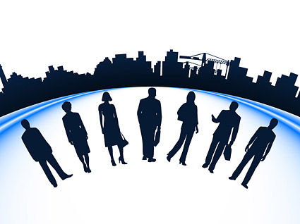 Business people and urban construction silhouette