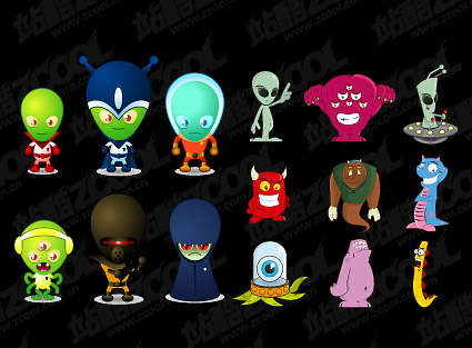 Vector cartoon alien material