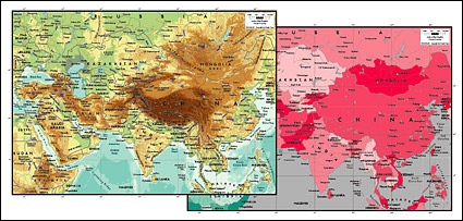 Vector map of the world exquisite material - the heart of Asia map