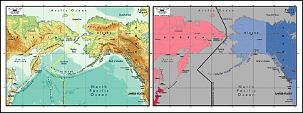 Vector map of the world exquisite material - Bering Strait map