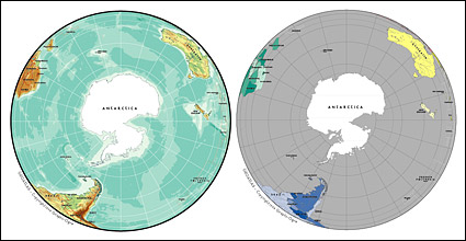 Vector map of the world exquisite material - spherical map of Antarctica