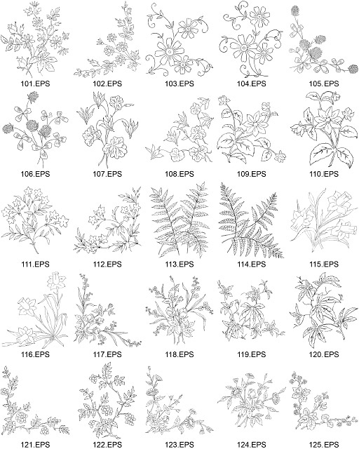 flower type of line drawing vector diagram