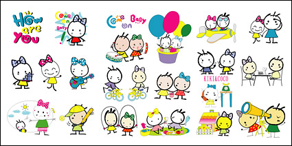 Kiki & Coco cartoon image of vector elements