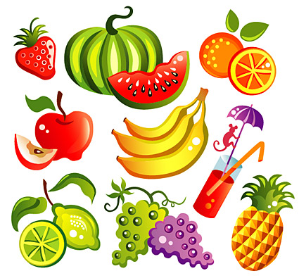 Vector cartoon style fruit