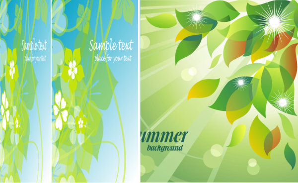 Fresh summer flowers mirage vector background material -4