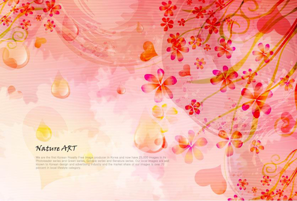Romantic floral pattern background vector design material -5