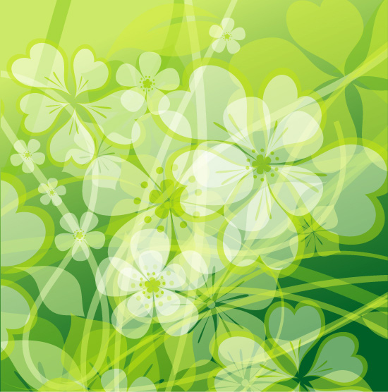 Fresh summer flowers vector background material -2